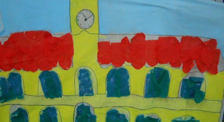 Dibujo en cartulina de la Casa Histórica de la Independencia en Tucumán